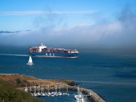 Oceanbound Freighter on San Francisco Bay