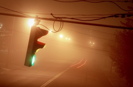 Long Exposure Traffic Light in Fog