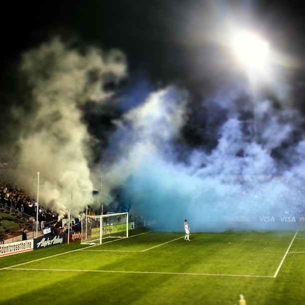 Releasing the blue smoke.
