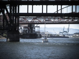 Steel Bridge & Sailboat