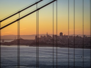 San Francisco through the Bridge, at Dawn